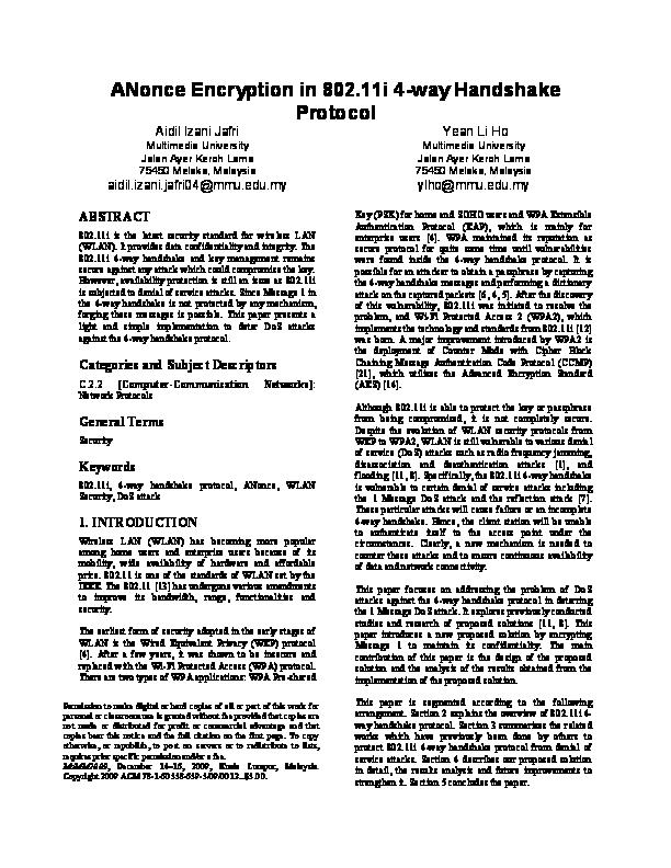 PDF) ANonce Encryption in 802 11i 4-way Handshake Protocol