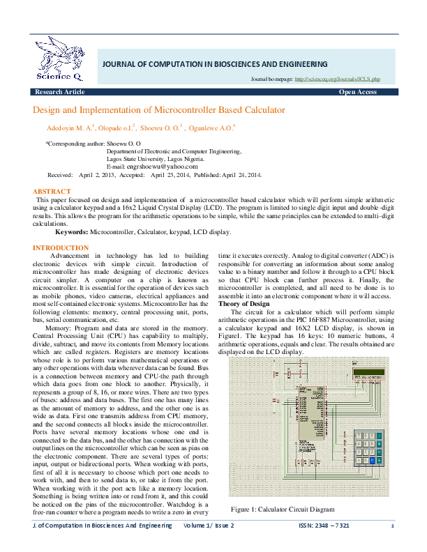 PDF) Design and Implementation of Microcontroller Based