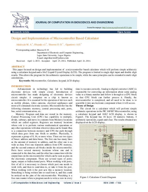 Calculator Circuit Diagram | Design And Implementation Of Microcontroller Based Calculator Engr