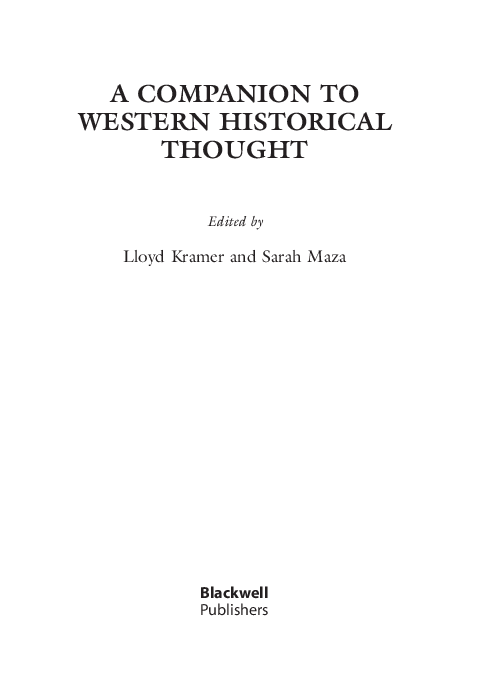 A Companion To Western Historical Thought Edited By Kitwana