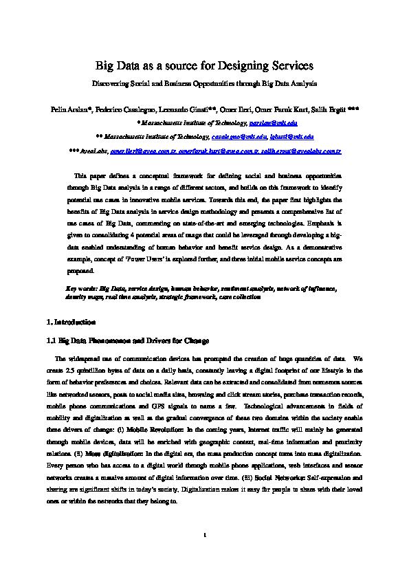 Pdf Big Data As A Source For Designing Services Pelin Arslan Academia Edu