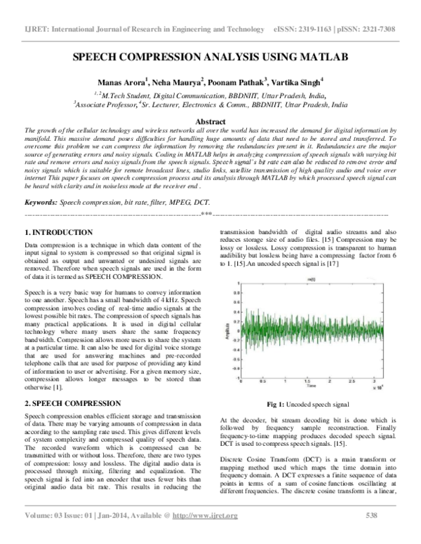 PDF) SPEECH COMPRESSION ANALYSIS USING MATLAB | Editor IJRET