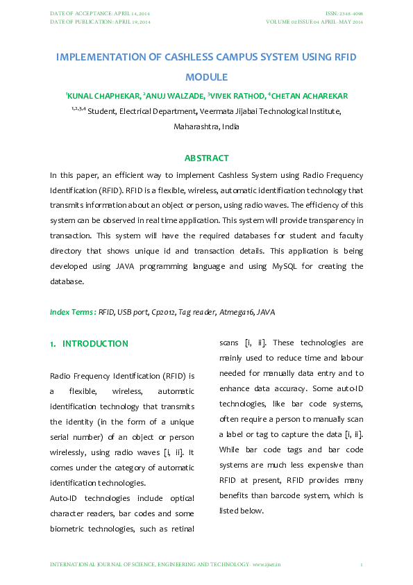 PDF) IMPLEMENTATION OF CASH LESS CAMPUS SYSTEM USING RFID