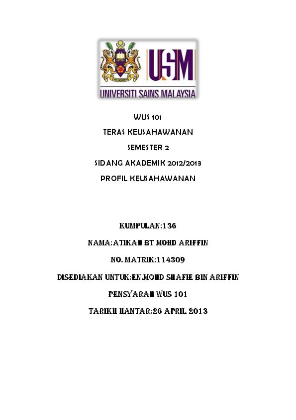 Doc Wus 101 Profil Usahawan Atikah Ariffin Academia Edu