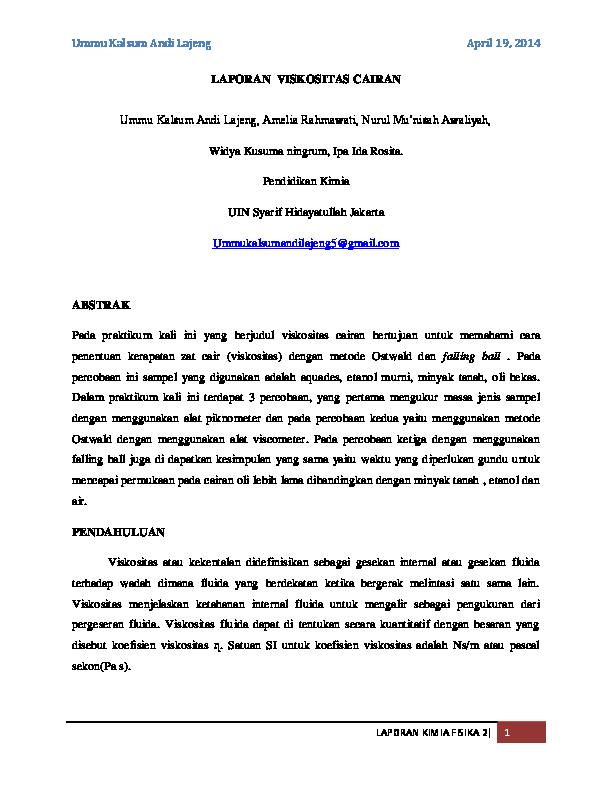 Laporan Viskositas Cairan Ummu Kalsum Andi Lajeng Academia Edu