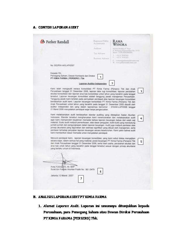 Doc Contoh Laporan Audit Yang Dikumpul Fahmi Azhari Academia Edu