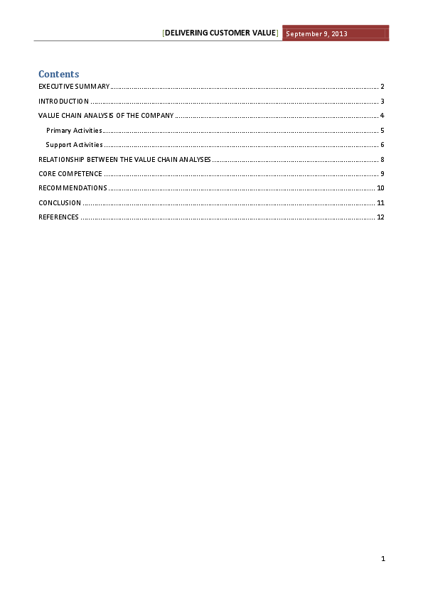 DOC) Contents EXECUTIVE SUMMARY 2 INTRODUCTION 3 VALUE CHAIN
