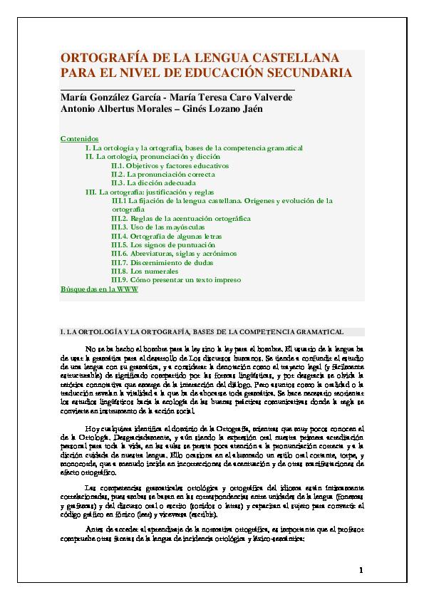 Pdf Ortografia Del Castellano Para E Secundaria Alma Alvarez