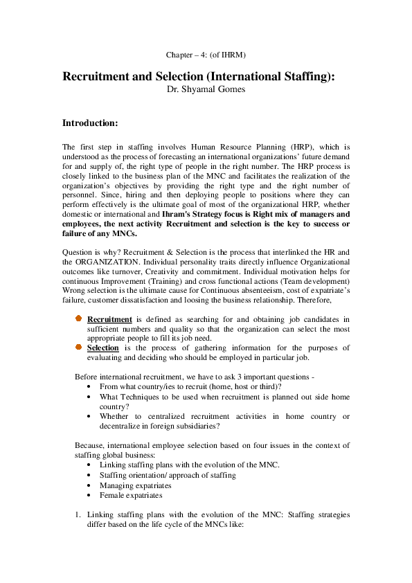 PDF) Chapter – 4: (of IHRM) Recruitment and Selection (International