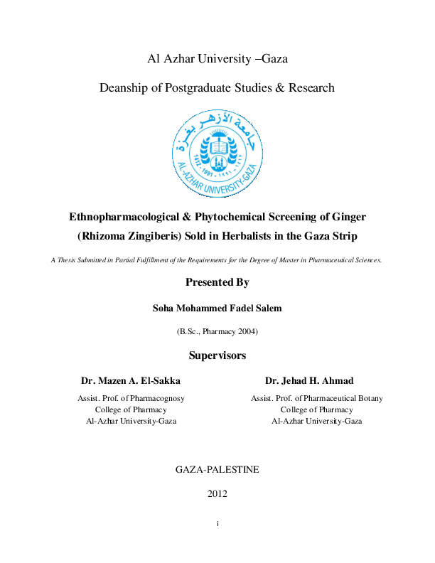 aa0b6905dd617 PDF) Ethnopharmacological   Phytochemical Screening of Ginger ...