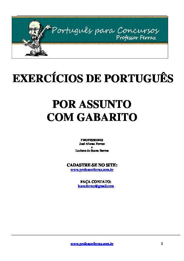 Exercícios De Português Por Assunto Com Gabarito Cadastre Se No Site