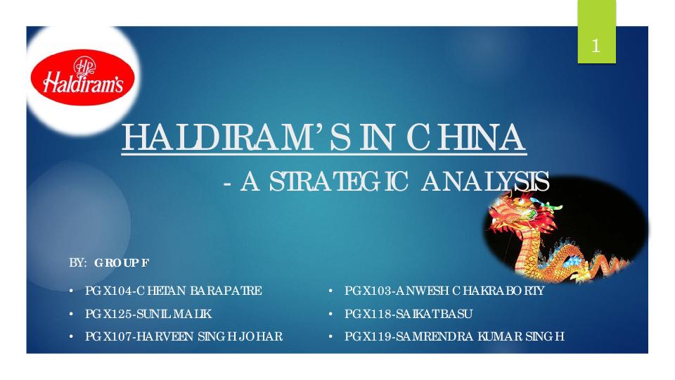 PDF) HALDIRAM'S IN CHINA -A STRATEGIC ANALYSIS | Mayank Saraf