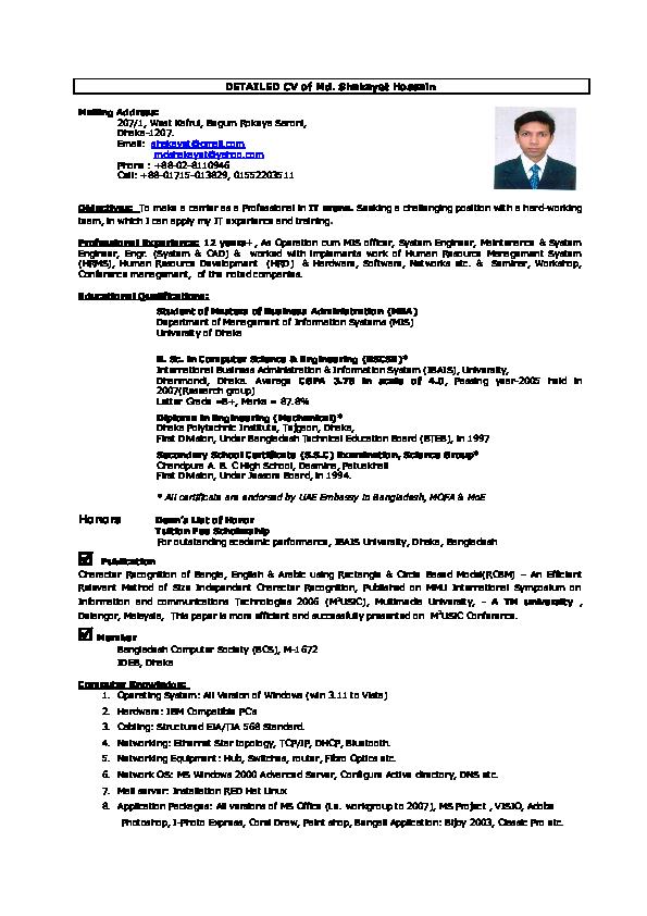 DOC) DETAILED CV of Md  Shakayet Hossain   Shakayet Hossain