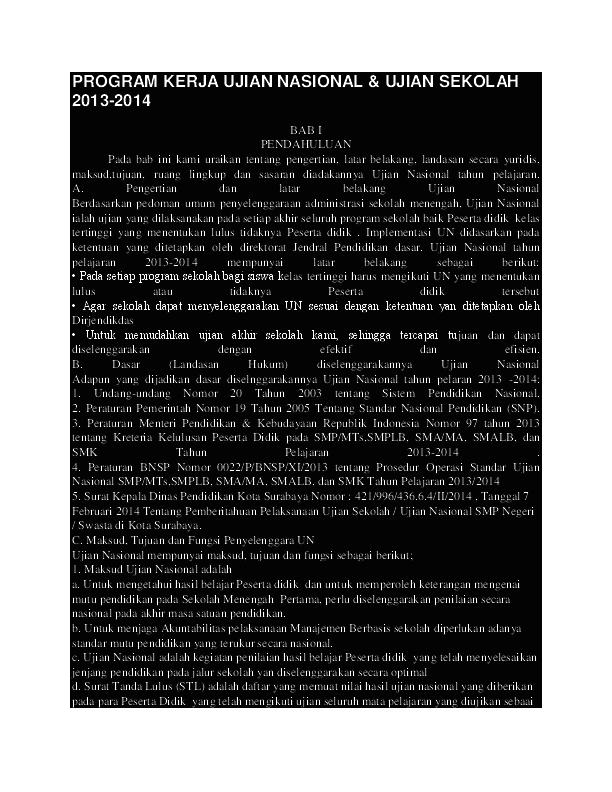 Program Kerja Ujian Nasional Andri Susanto Academia Edu