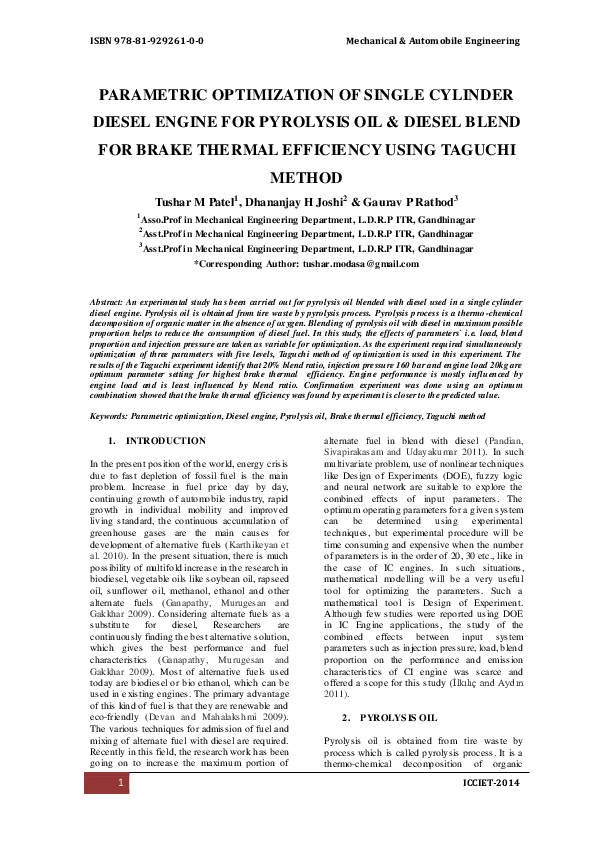 PDF) PARAMETRIC OPTIMIZATION OF SINGLE CYLINDER DIESEL