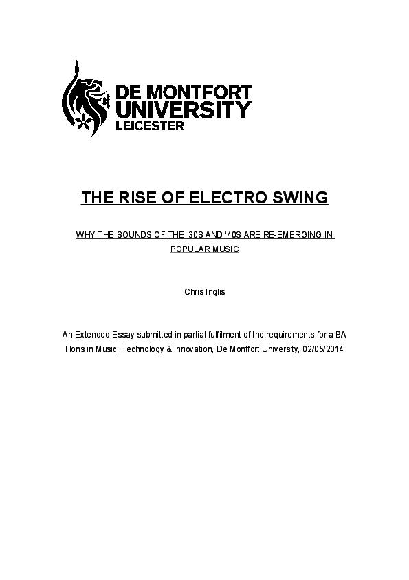 The Rise Of Electro Swing Chris Inglis Academia