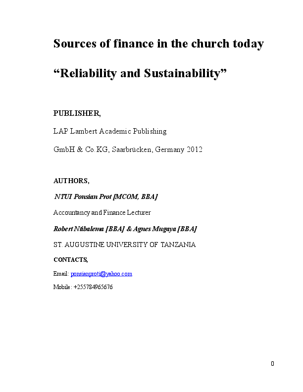 PDF) SOURCES OF FINANCE IN THE CHURCH TODAY: SUSTAINABILITY AND