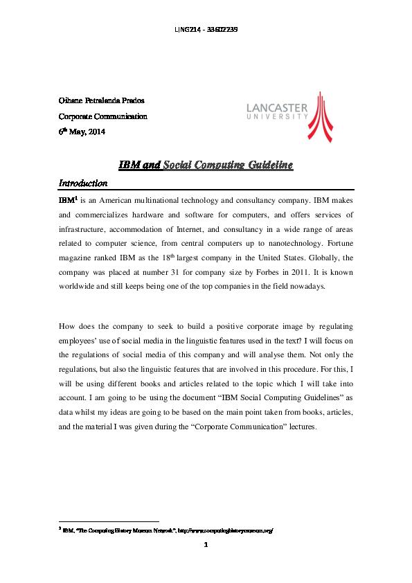 PDF) IBM and Social Computing Guideline | Oihane Petralanda