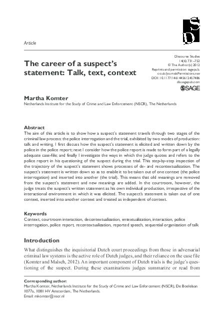 PDF) The career of a suspect's statement | Martha Komter - Academia edu
