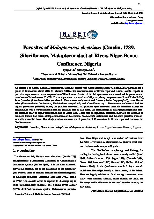 paraziți de malapterurus electricus