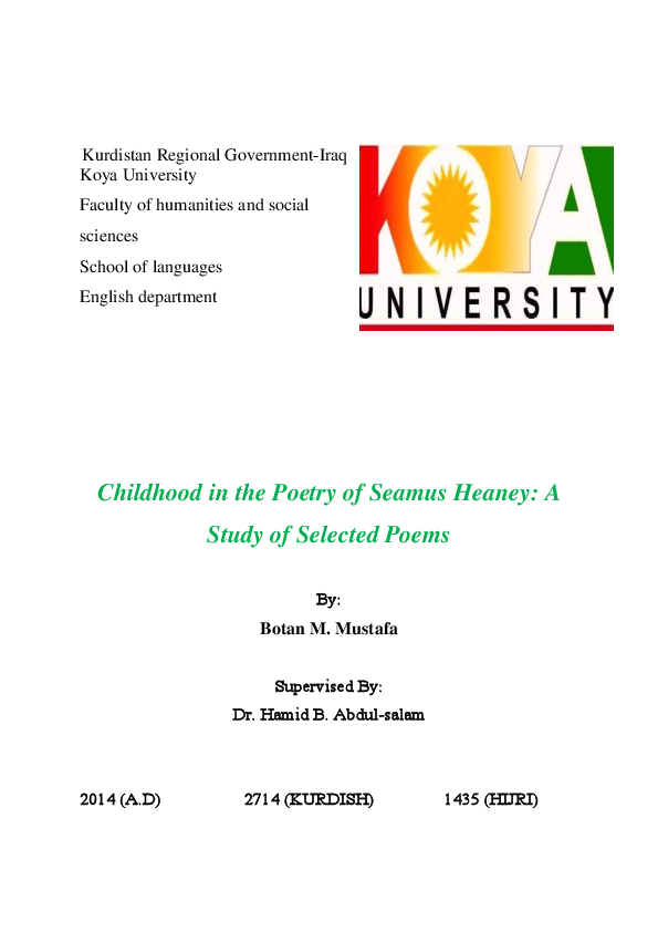 PDF) Childhood in the Poetry of Seamus Heaney: A Study of