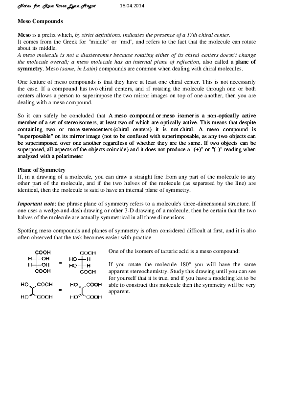 PDF) Meso compounds Notes | Tonderai Ronald Chihota - Academia edu