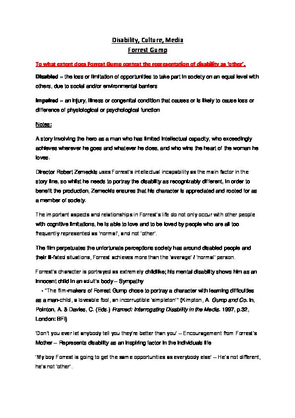 doc forrest gump   disability  dom walster   academiaedu docx