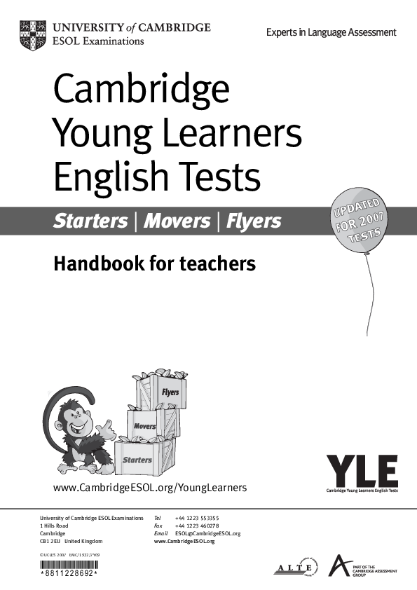 PDF) Cambridge Young Learners English Tests Starters | Movers