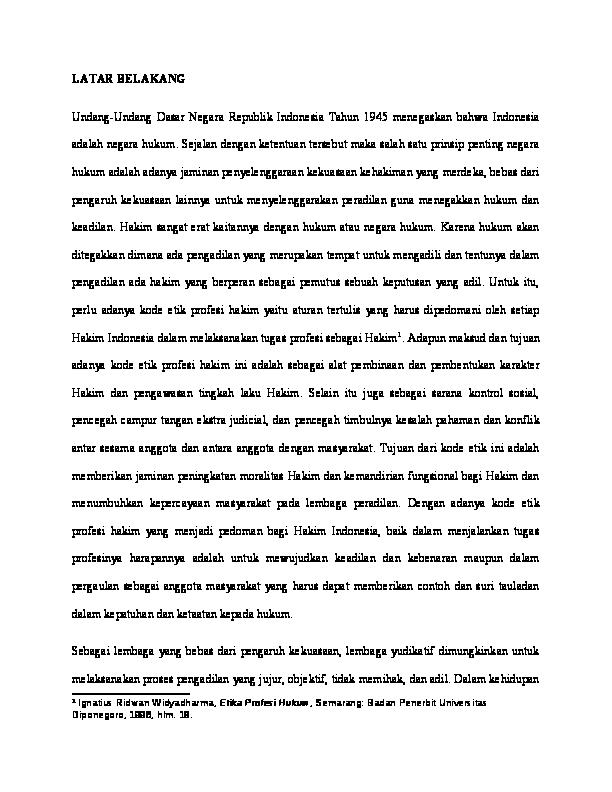 Doc Proposal Skripsi Hukum Tata Negara Htn Tinjauan Yuridis Terhadap Wewenang Pengawasan Hakim Oleh Komisi Yudisial Pasca Keluarnya Putusan Mahkamah Konstitusi Nomor 005 Puu Iv 2006 Jerio Hallean Academia Edu