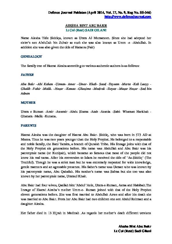 PDF) Aiesha Bint Abu Bakr | Scholar Pakistan - Academia edu