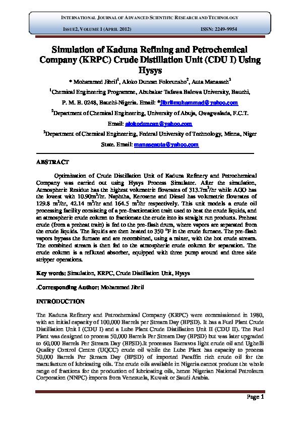 PDF) Simulation of Kaduna Refining and Petrochemical Company