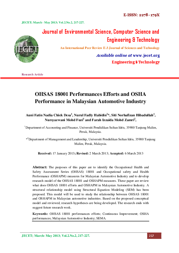Pdf Occupational 2013 Oshas 18001 Performance Efforts And Osha Performance In Malaysian Automotive Industry Journal Of Environmental Science Computer Science And Engineering Technology 2 2 217 227 Nurul Fadly Habidin Academia Edu