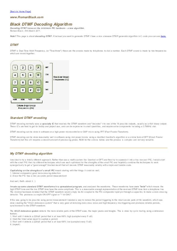 PDF) Black DTMF decoding | MReza Prple - Academia edu