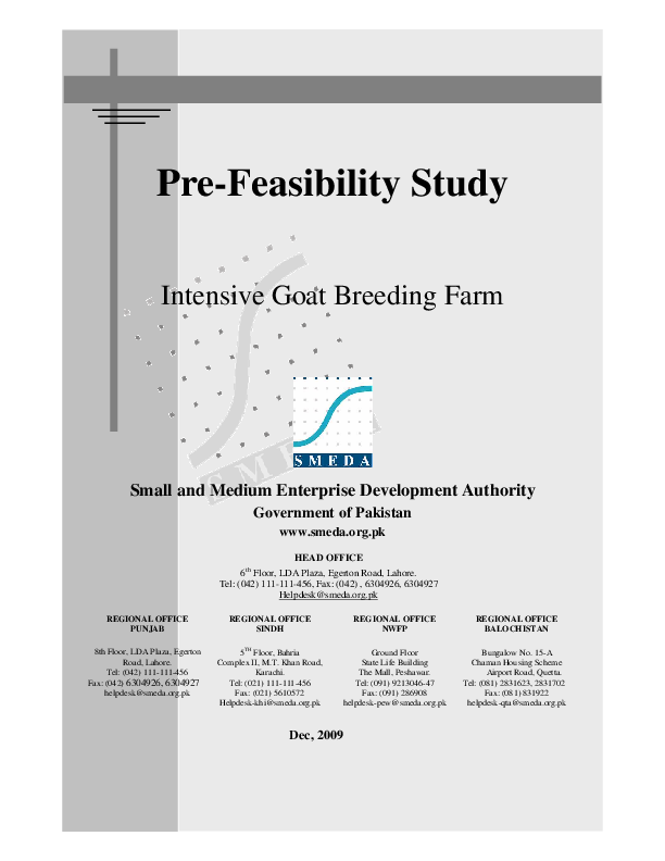 PDF) Pre-Feasibility Study Intensive Goat Breeding Farm Small and