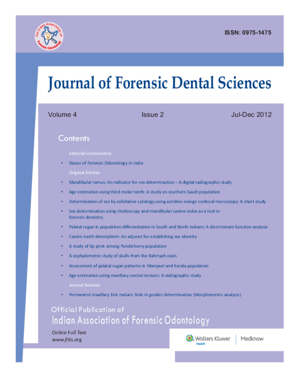 Pdf Official Publication Of Indian Association Of Forensic Odontology Bullet Status Of Forensic Odontology In India A Cephalometric Study Of Skulls From The Bahriyah Oasis Muhammad Al Tohamy Academia Edu