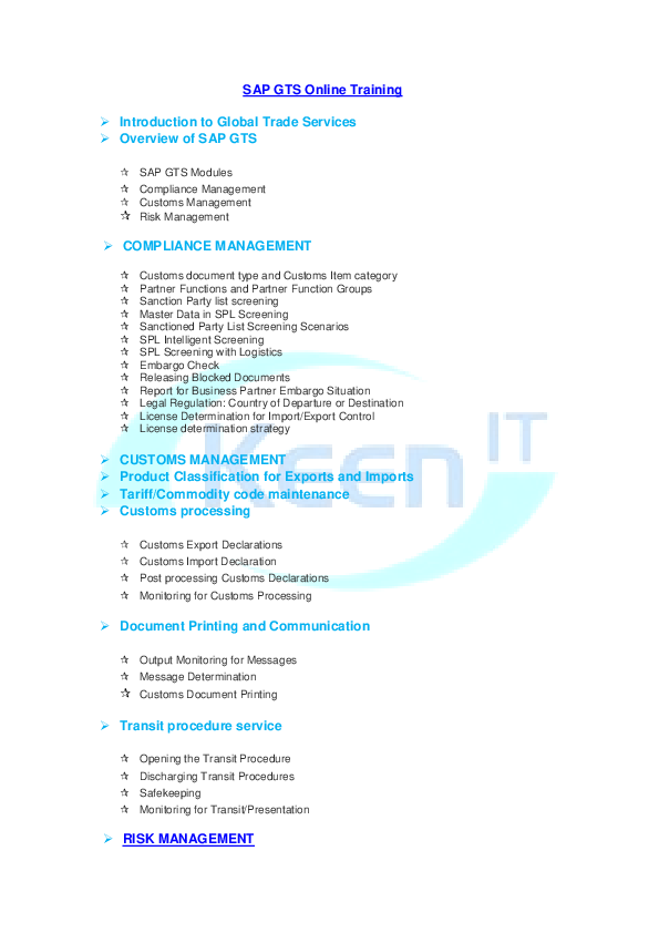 PDF) SAP Global Trade Services (GTS) Online Training | Keen