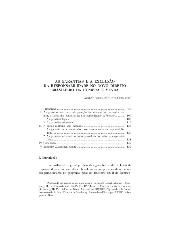 Pdf Garantias E Cláusulas De Exclusão Da Responsabilidade