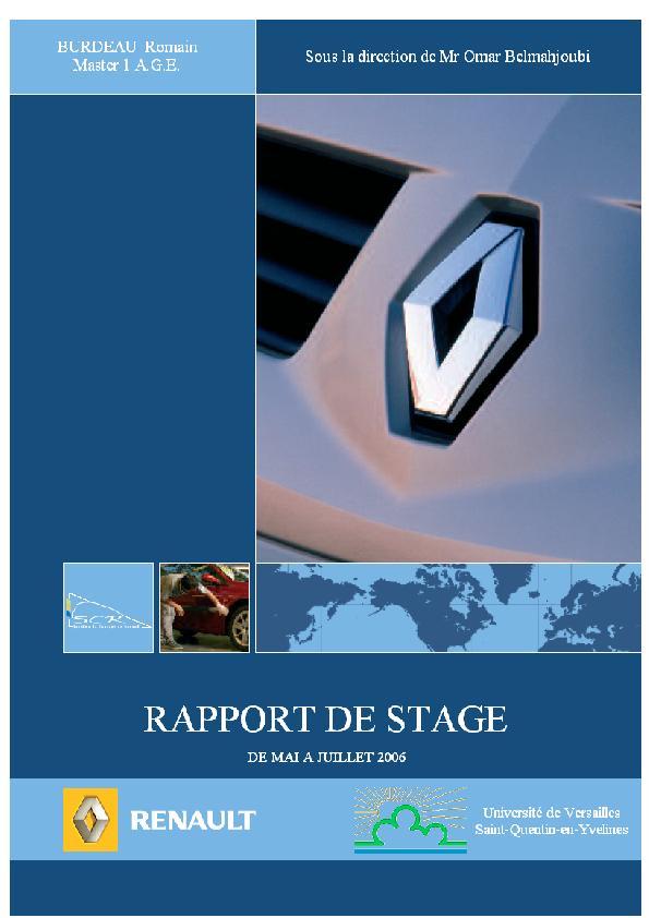 Pdf Rapport De Stage Chez Renault Fatima Zahra Hamdane