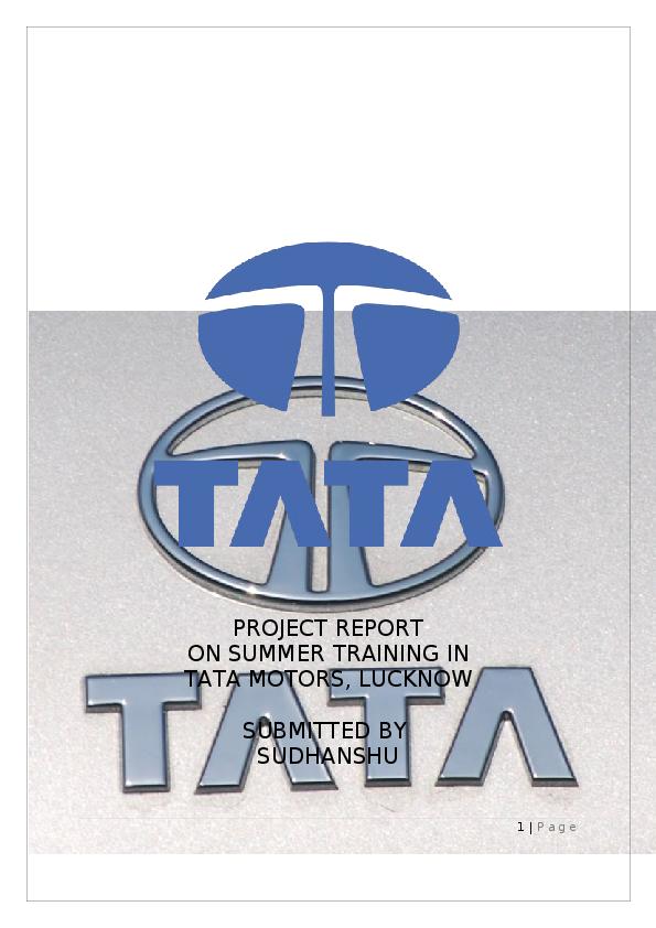 PDF) 39178405-Summer-Training-Report-at-TATA-MOTORS | arjun