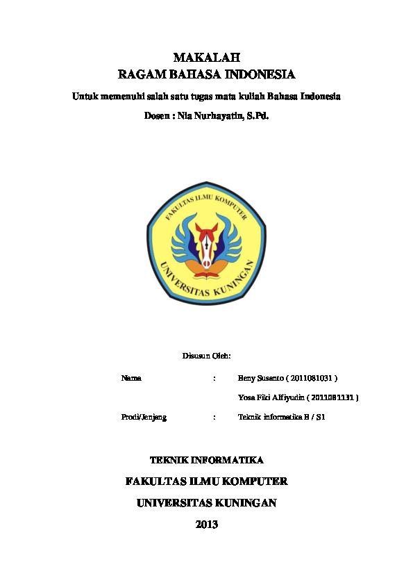 Pdf Makalah Ragam Bahasa Indonesia Jurik Prikitiw Academia Edu