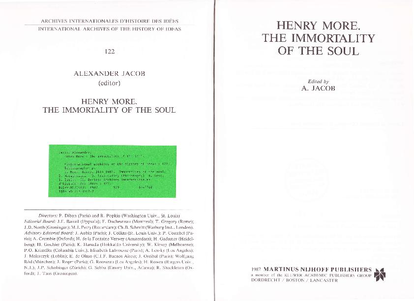 PDF) Henry More: The Immortality of The Soul | Thomas Jaretz