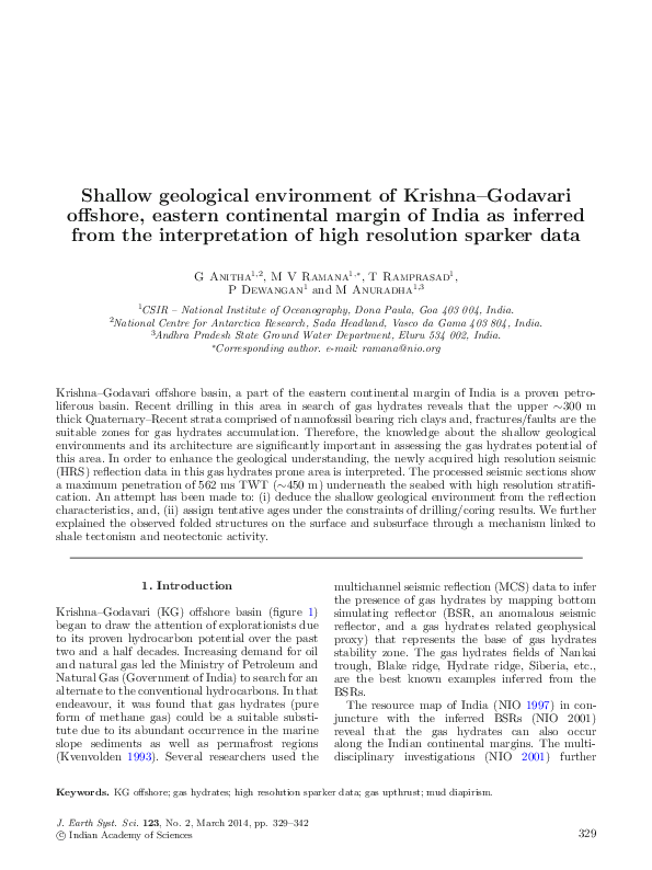 PDF) Shallow geological environment of Krishna–Godavari
