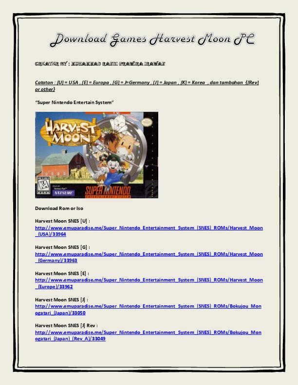 PDF) Harvest Moon Link Download By Muhammad Randi | Tryo Prasetyo