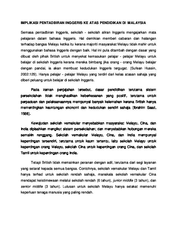 Doc Implikasi Pentadbiran Inggeris Ke Atas Pendidikan Di Malaysia Rosly Asing Academia Edu