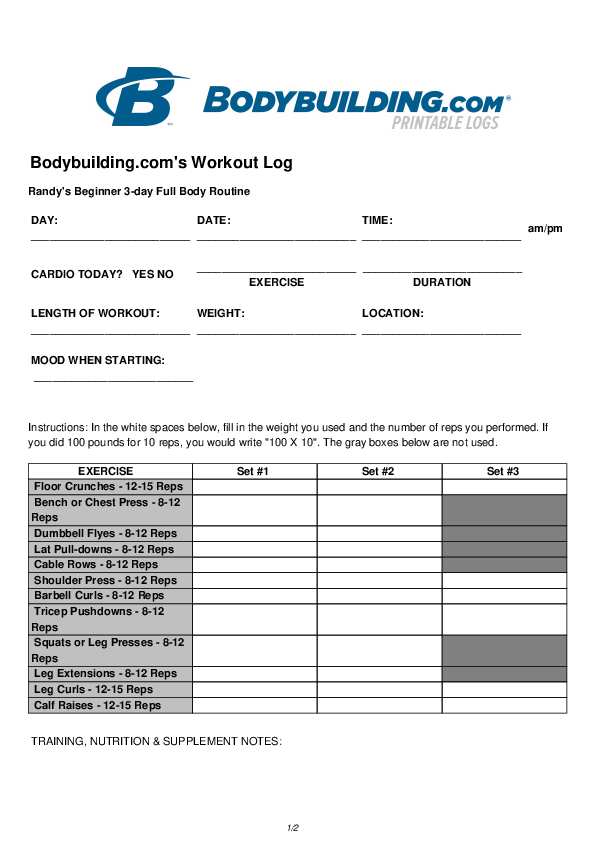 This is a photo of Printable Workout Logs intended for program