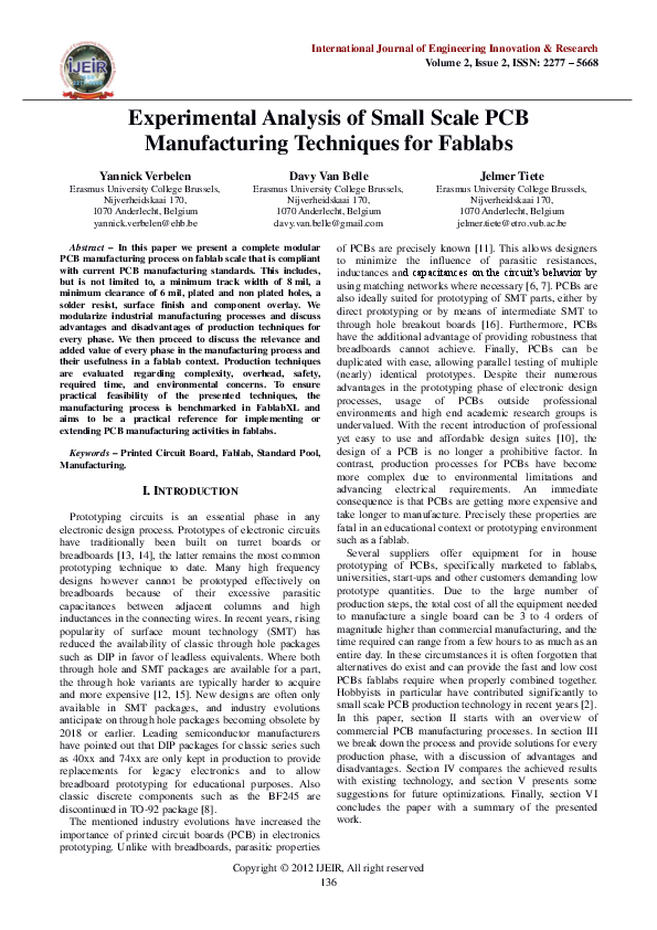 PDF) Experimental Analysis of Small Scale PCB Manufacturing