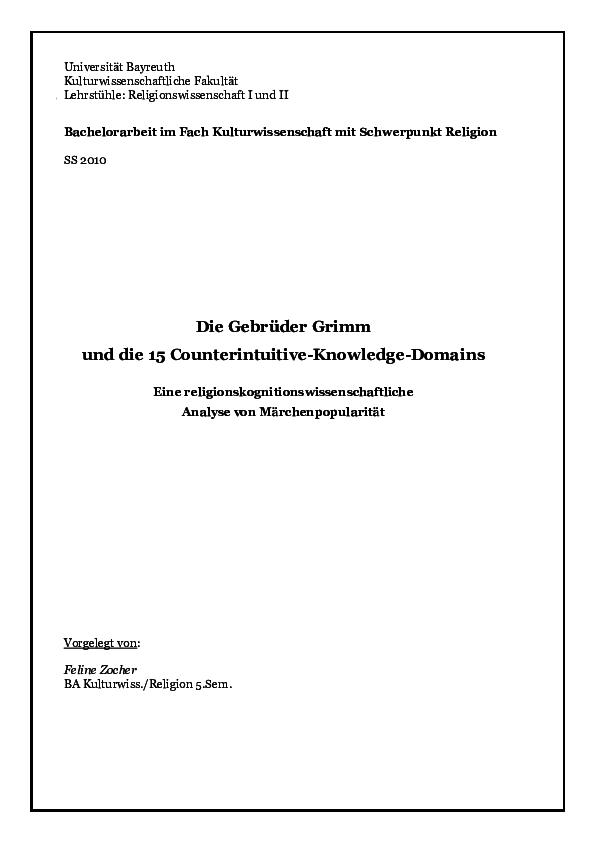Pdf Ba Thesis Die Gebrüder Grimm Und Die 15