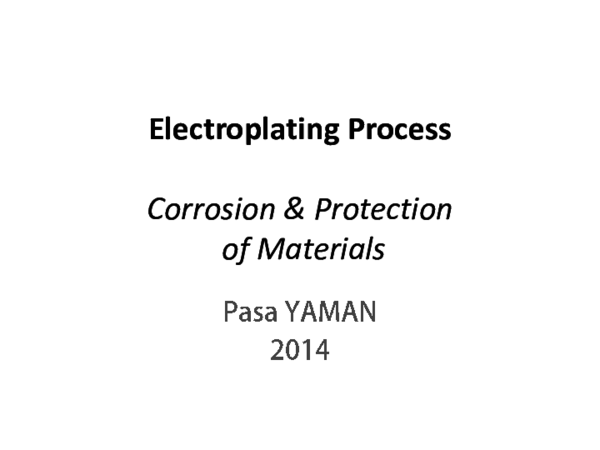 PDF) Electroplating Process --- Corrosion & Protection of Materials