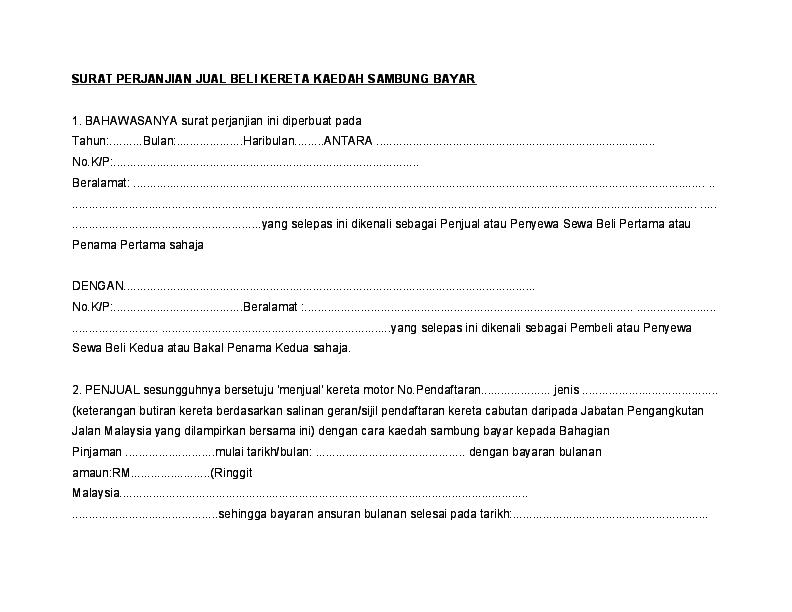Doc Surat Perjanjian Jual Beli Kereta Kaedah Sambung Bayar Zafirah Che Ariff Academia Edu