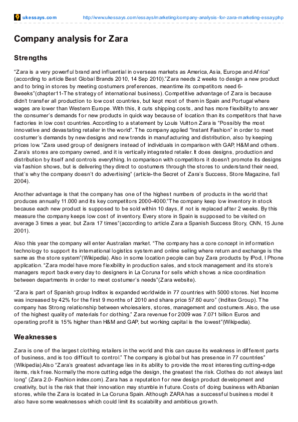 zara introduction essay
